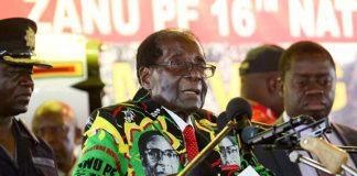 President Robert Mugabe addressing delegates at Zanu PF conference in Masvingo