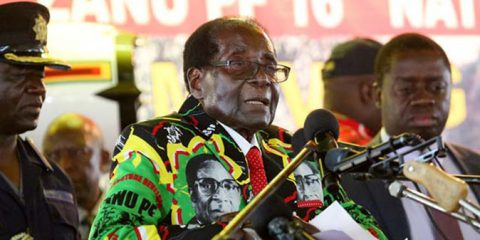 President Robert Mugabe addressing delegates at Zanu PF conference in Masvingo