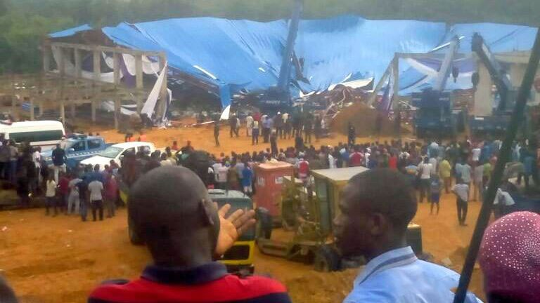 A church roof has collapsed in Uyo, south-east Nigeria, killing at least 60 people attending a bishop's ordination