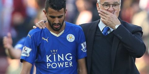 Riyad Mahrez with manager Claudio Ranieri