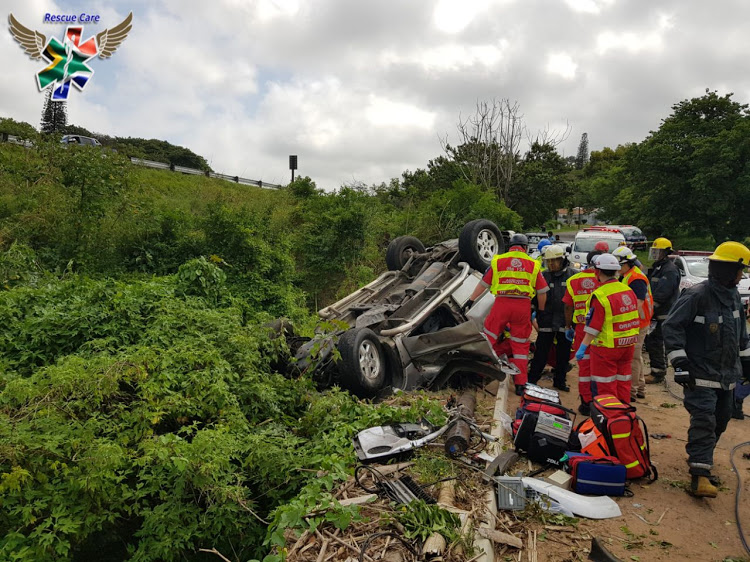 Five dead after Jeep rolls down embankment near Durban rescue. Image: SUPPLIED/RESCUE CARE