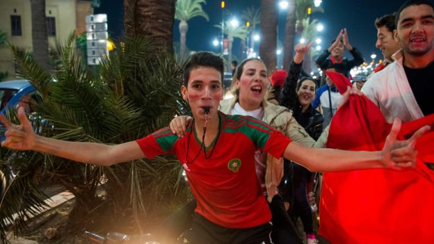 Most celebrations - like this one in Marrakesh - were peaceful