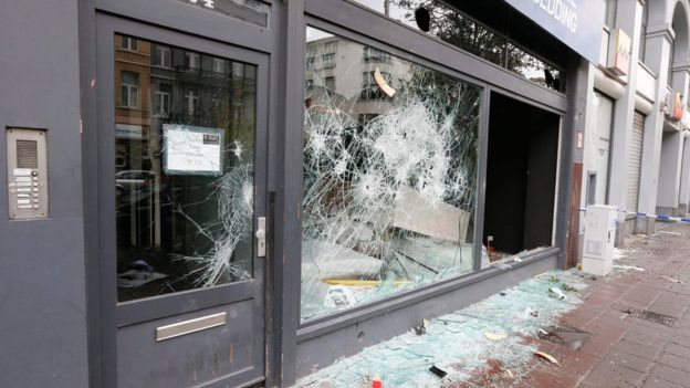 Owners of businesses in the centre of Brussels woke on Sunday to damaged shop fronts