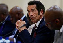 Botswana President Ian Khama looks on during the Botswana-South Africa Bi-National Commission