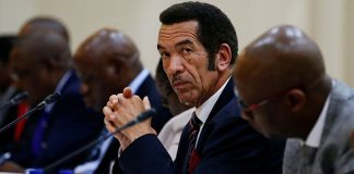 Botswana President Ian Khama looks on during the Botswana-South Africa Bi-National Commission