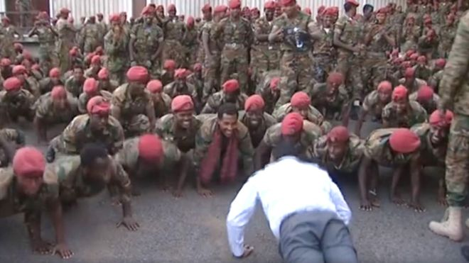 The prime minister ordered the protesting soldiers to do press-ups to defuse the tension