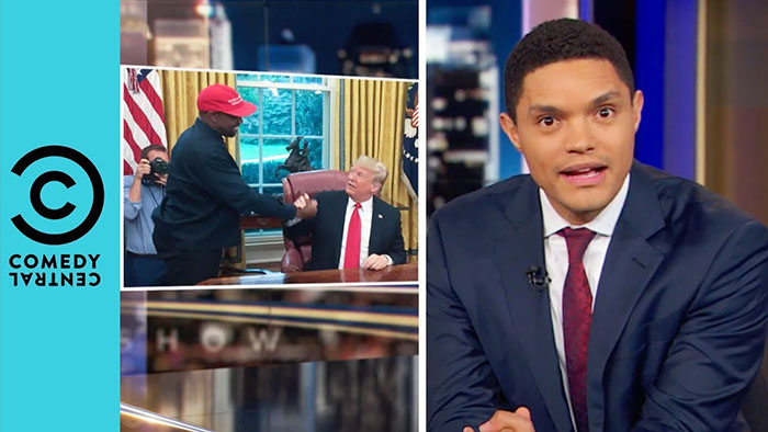 Trevor Noah has picked apart Kanye West's visit to the White House after the rap star launched a surreal monologue about his love for Donald Trump that quickly went viral.