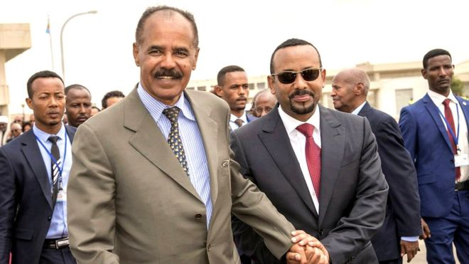 Eritrea's President Isaias Afwerki and Ethiopia's Prime Minister, Abiy Ahmed arrive for an inauguration ceremony marking the reopening of the Eritrean embassy in Addis Ababa, Ethiopia July 16, 2018.