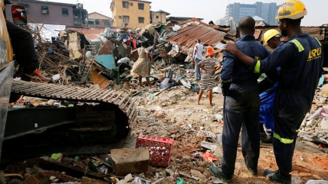 Children from the Lagos school could still trapped under the rubble