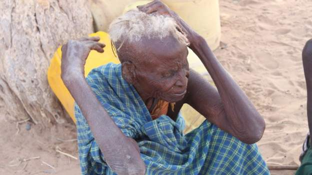 Villagers like Mariam Loolio have not eaten proper food for at least five days (Picture by BBC)