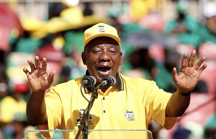President of South Africa's governing African National Congress Cyril Ramaphosa waves to his supporters, as he arrives for the party's final rally at Ellis Park Stadium in Johannesburg, South Africa, May 5, 2019. REUTERS/Siphiwe Sibeko