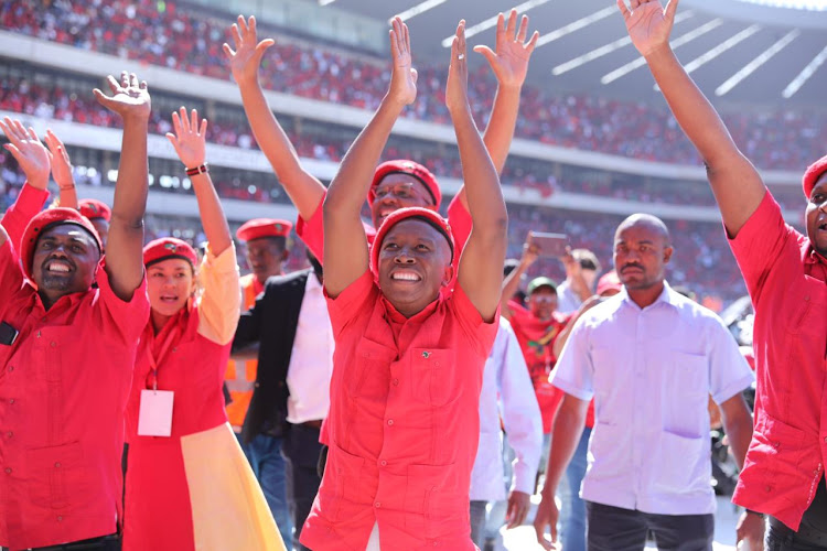 EFF leader Julius Malema arrives at the party's last pre-election rally at Orlando Stadium on Sunday. (Image: Simphiwe Nkwali)