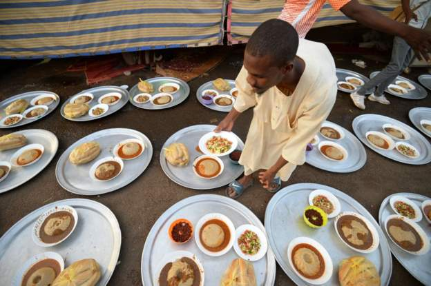 Muslims are encouraged to share food when they break their fast